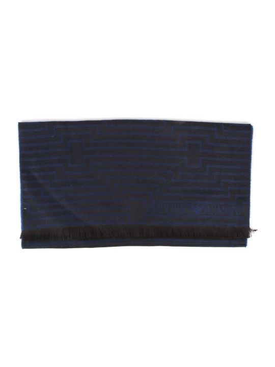 Emporio Armani Blue Wool Striped Scarf