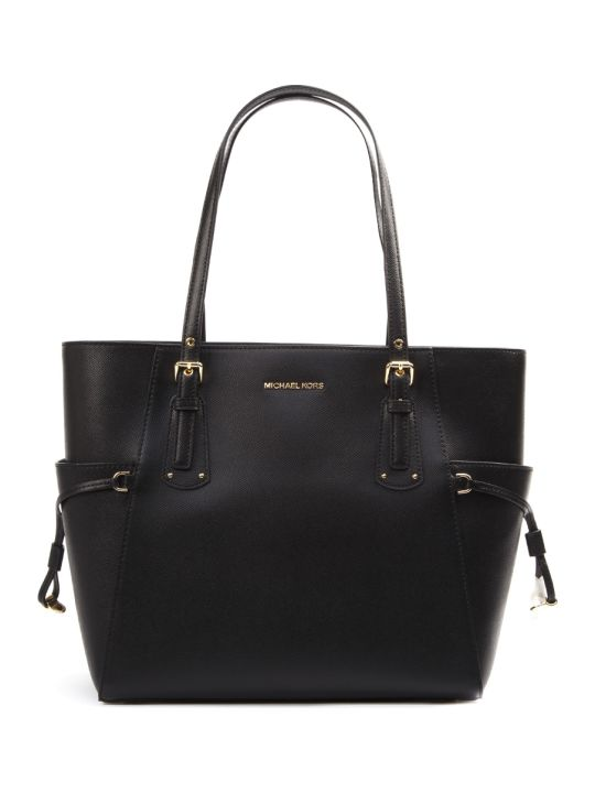 MICHAEL Michael Kors Black Voyager Cross Leather Tote Leather