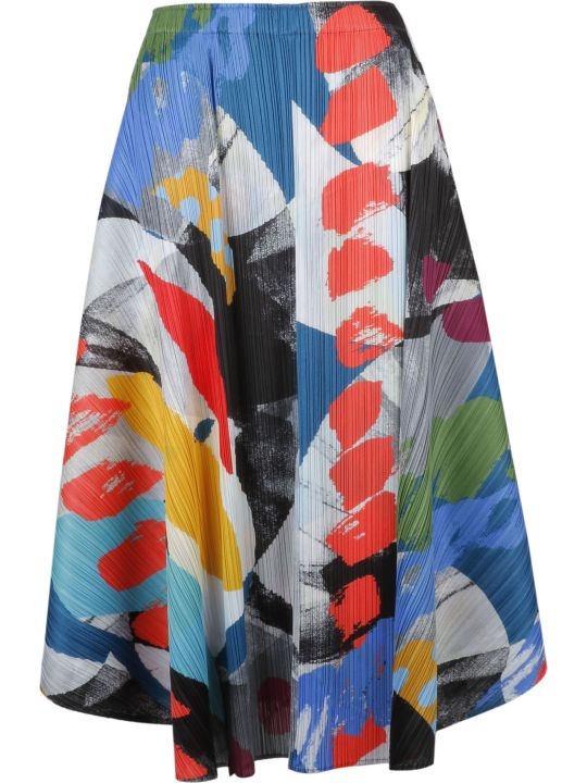 Pleats Please Issey Miyake Pleats Please By Issey Miyake Abstract Print Drape Skirt