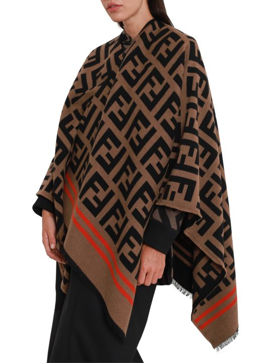 Fendi Wool Poncho With Ff Motif