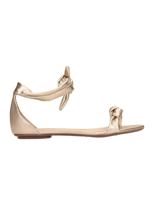 Schutz Gold Leather Flats Sandals