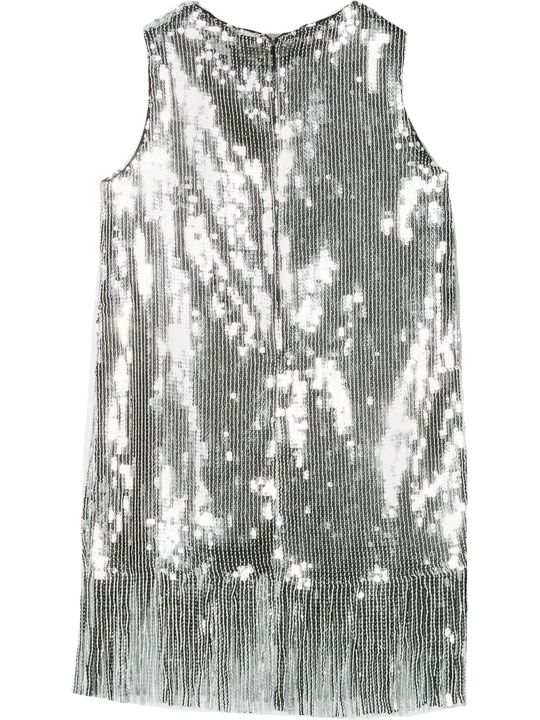 MSGM Silver-tone Cotton Sequinned Dress