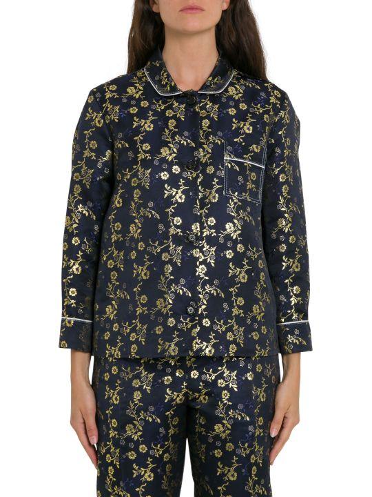 Marni Pyjama Shirt In Metallic Floral-jacquard