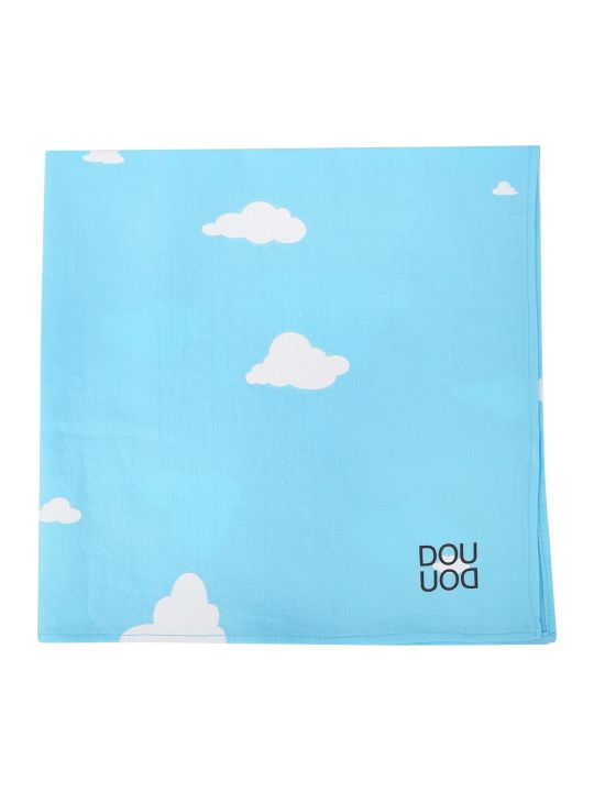 Douuod Light Blue Kerchief With White Clouds