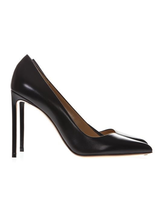 Francesco Russo Black Leather Pumps