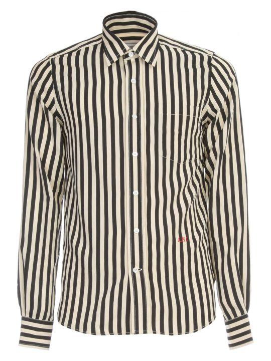 Ami Alexandre Mattiussi Striped Shirt L/s W/embroidered Logo