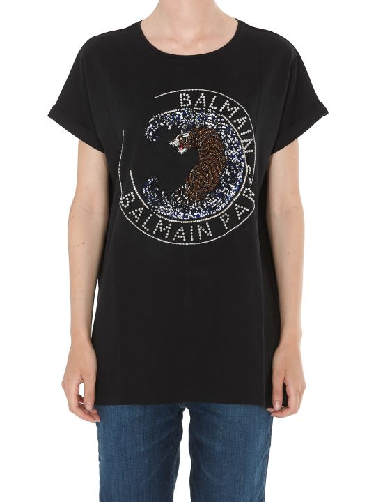 Balmain Balmain Tiger Embroidered T-shirt