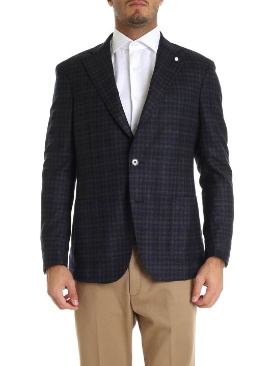 Luigi Bianchi Mantova Checked Single Buttoned Blazer