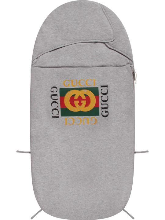 Gucci Grey Babykids Sleeping Bag With Logo
