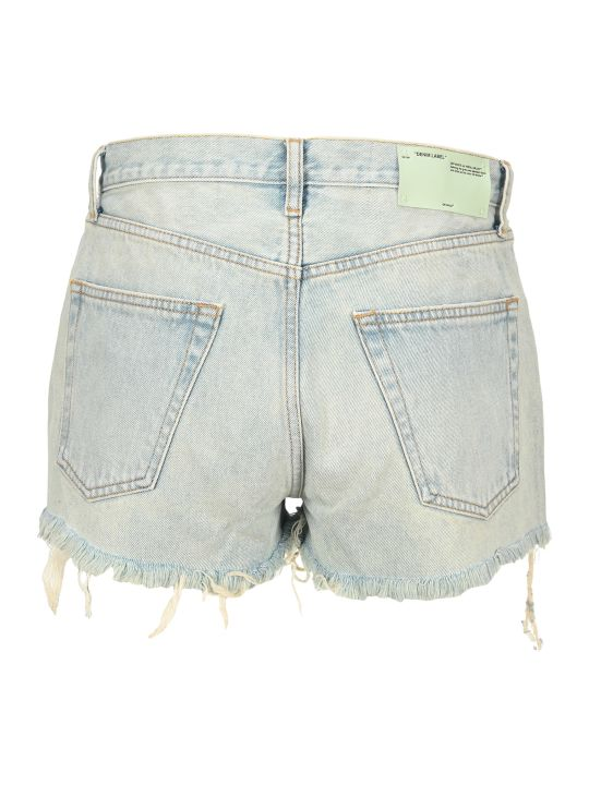 Off-White Off White Bleach Denim Shorts