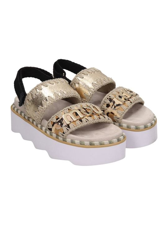 Mou New Bio Sandal Flats In Beige Leather