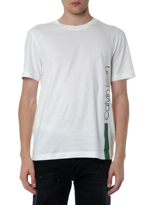 Calvin Klein Ecru T Shirt In Cotton With Green Side Logo