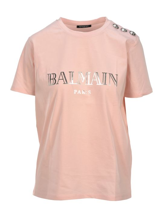 Balmain Ss 3 Btn Balmain Logo T Shirt