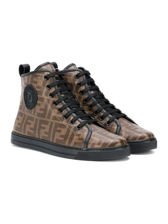 Fendi Brown High Sneakers