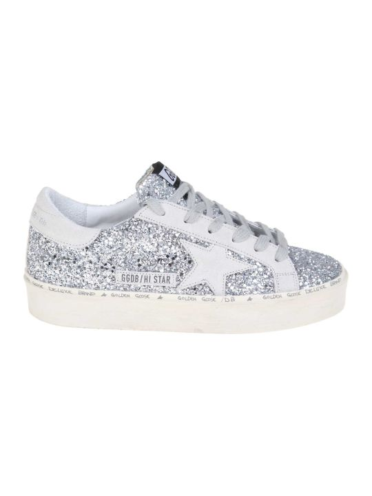 Golden Goose Silver Leather Sneakers In Silver Leather With Glitter