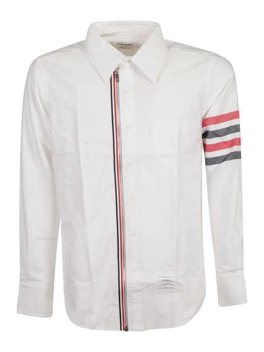 Thom Browne 4-bar Zip Front Shirt