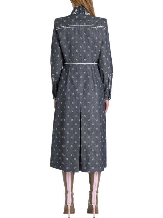 Fendi Blue Drill Pinafore Dress