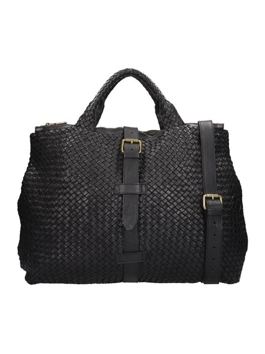 Officine Creative Clever Hand Bag In Black Leather