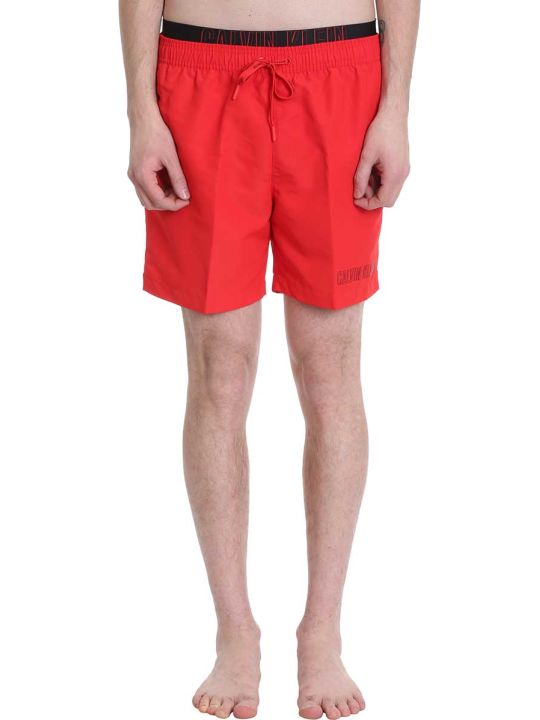 Calvin Klein Jeans Red Nylon Swimwear