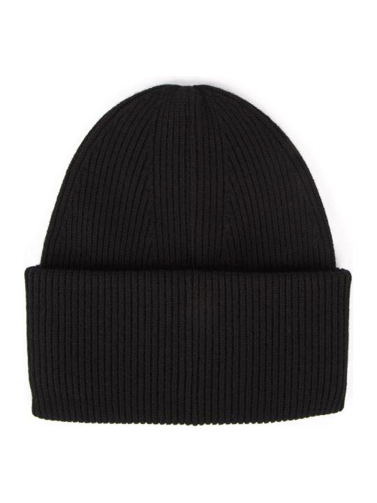 Emporio Armani Black Wool-cashmere Blend Beanie Hat