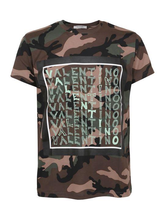 Valentino Camouflage Logo Print T-shirt