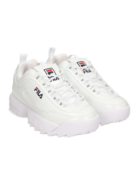 Fila Distruptor Low  Sneakers In White Patent Leather