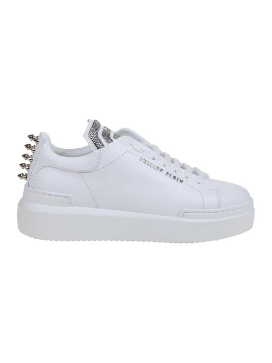 Philipp Plein Lo-top Statement Sneakers In White Leather