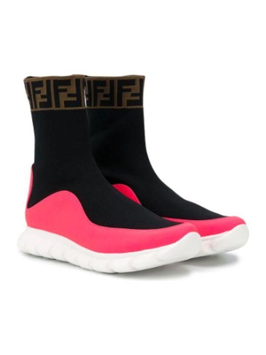 Fendi Black And Pink Socks Sneakers