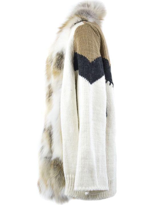 S.W.O.R.D 6.6.44 Gold-tone Fox Fur Knitted Cardigan