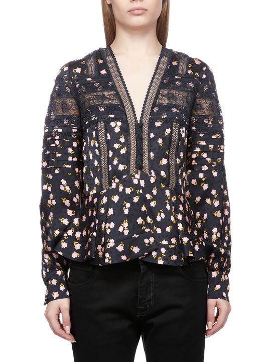 self-portrait Flora Print Blouse