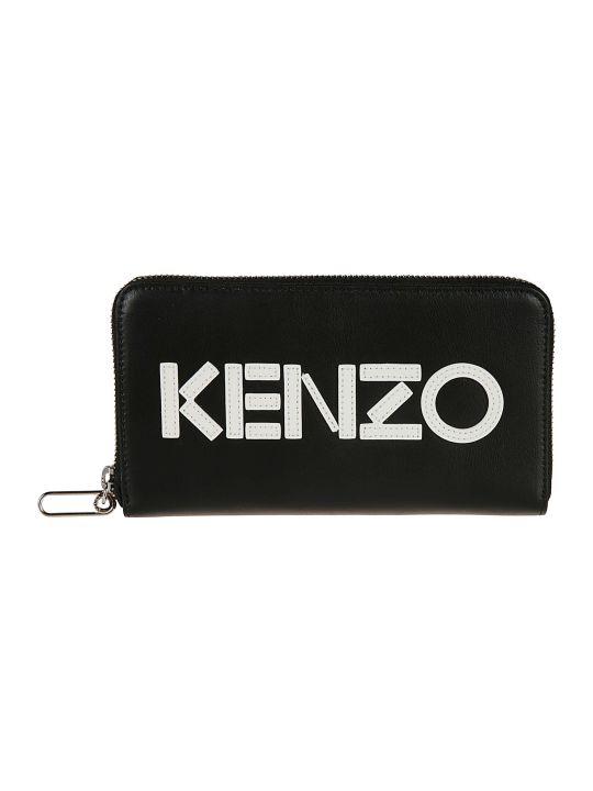 Kenzo Logo Patch Zip Around Wallet