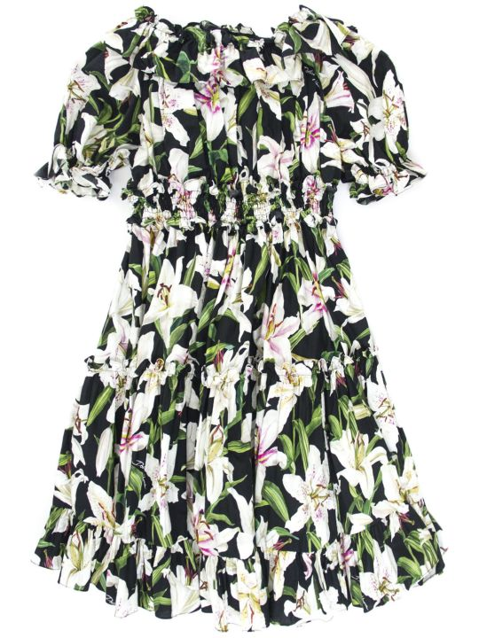 Dolce & Gabbana Black And Pink Cotton Floral Print Dress