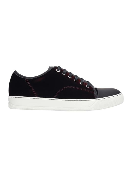 Lanvin Low Top Sneakers In Bordeaux Velvet
