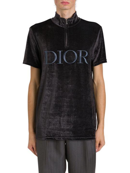 Dior Homme Logo Embroidered Velvet Tee