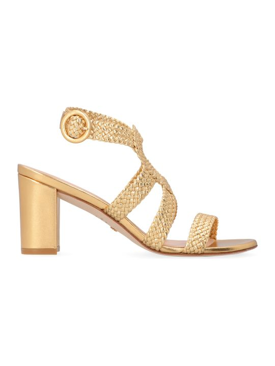 Stuart Weitzman Vicky Metallic Leather Sandals