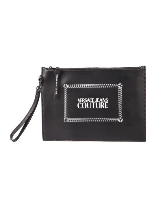 Versace Jeans Couture Black Faux Leather Print Purse