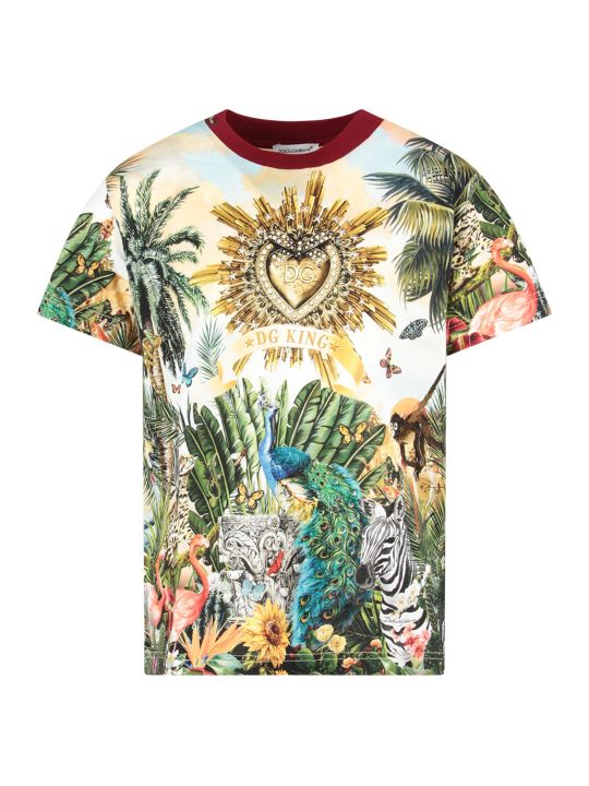 Dolce & Gabbana Multicolor Boy T-shirt With Colorful ''hawaii'' Theme