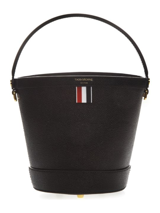 Thom Browne Black Leather Bucket Bag