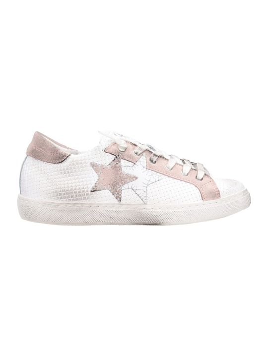 2Star Low White Pink Leather Sneakers