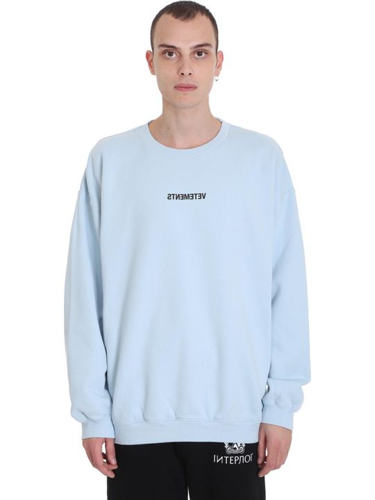 VETEMENTS Sweatshirt In Cyan Cotton