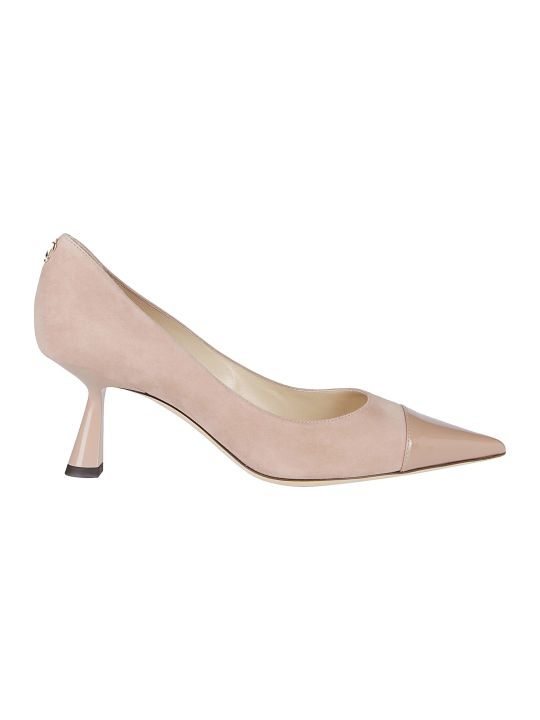 Jimmy Choo Nude Leather And Suede Rene 65 Pumps