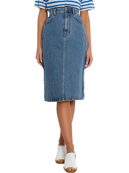 Acne Studios Denim Pencil Skirt With A Distressed Waistband