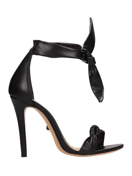 Schutz Knot Black Calf Leather Sandals