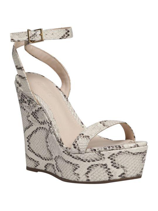 Schutz Pythoned Wedge Sandals