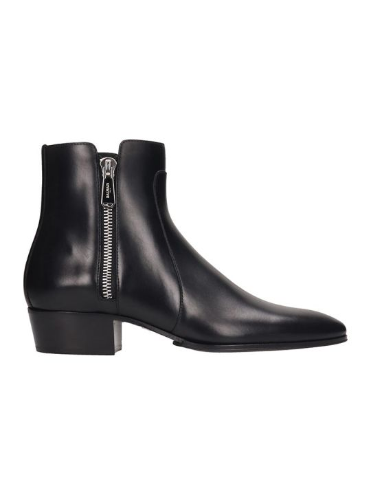 Balmain Ankle Boots In Black Leather