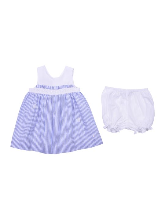 Baby Dior Striped White & Light Blue Linen & Cotton Dress With Diaper Cover