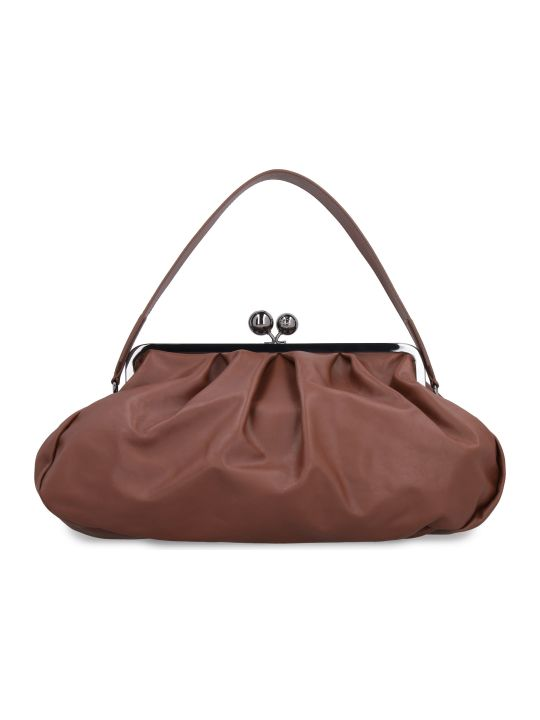 Weekend Max Mara Pasticcino Leather Clutch With Strap
