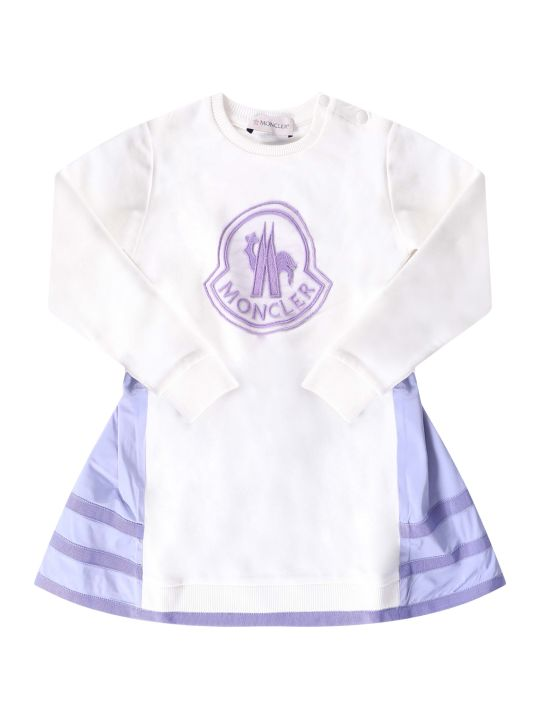 Moncler White Girl Dress With Lilac Logo