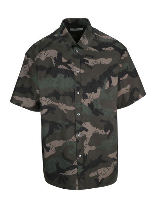 Valentino Camouflage Logo Print Shirt