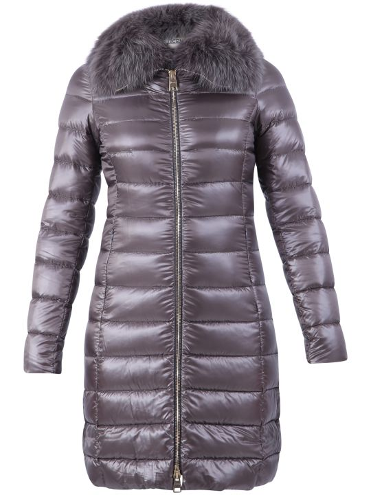 Herno Grey Fur Detail Padded Jacket